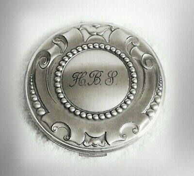Volupte sterling silver large compact with mirror