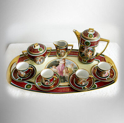 Pirkenhammer tea set with under tray - hand painted victorian