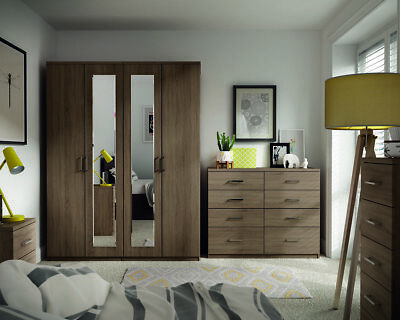 Medina Truffle Oak Wardrobe Drawers Set Fully Ready Assembled Bedroom Furniture