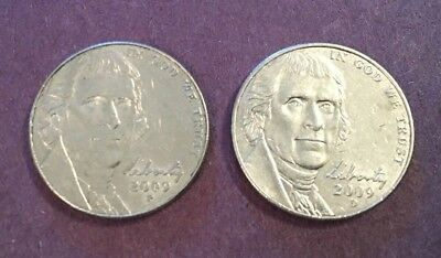 2009 P & D Jefferson Nickel Set Very Good Circulated Cond Very Low Mintage