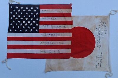 Two Vintage Personalized US and Japanese Flags, to US Navy Servicemen