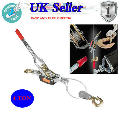 Heavy Duty 4 Ton 2 Hooks Cable Puller Hand Winch For Car Caravan Boat Trailer Uk