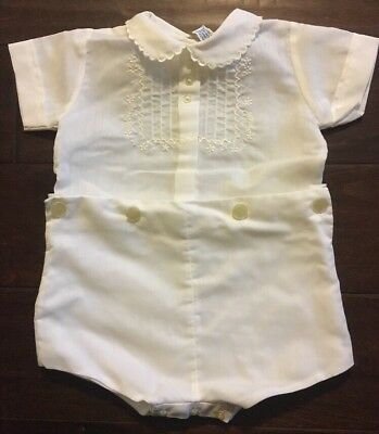 Vintage Baby Boy's White One Piece Outfit Christening Baptism Excellent Cond