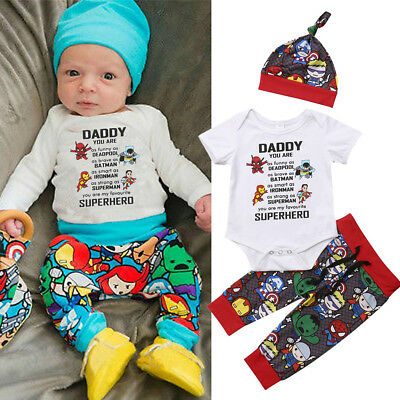 3pcs Superhero Newborn Infant Baby Boy Romepr+Trousers Pants Outfits Clothes Set
