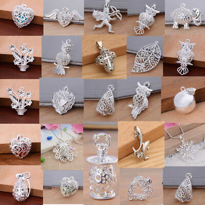 Women 925 Sterling Silver Wedding Crystal Pendant Necklace Jewelry Bridal Gift