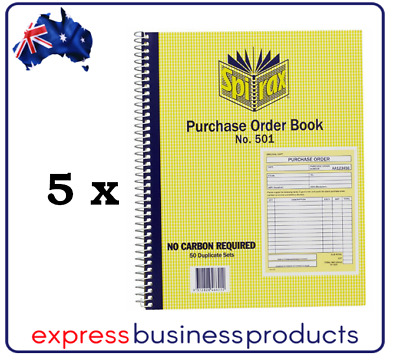 5 Pack Spirax #501 Purchase Order Book Carbonless – EA56501