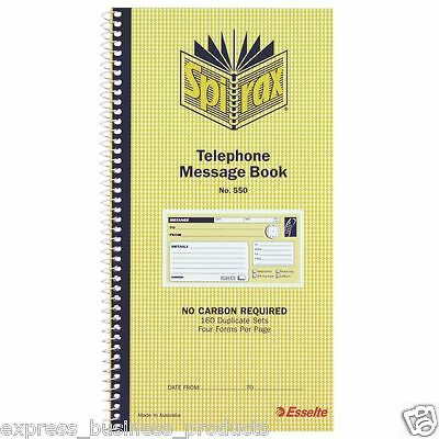 10 Pack Spirax Telephone Message Book #550 Carbonless – EA55227