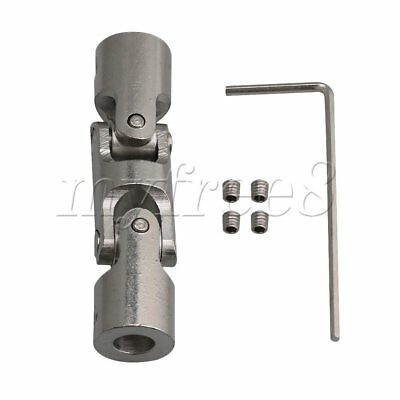 Silver 6mm-6mm Three-section Universal Joint Coupler with Hex Wrench 12mm OD