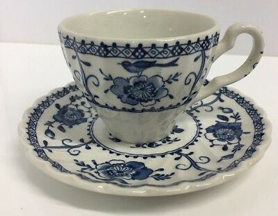 Johnson Brothers Indies Blue & White Coffee / Espresso Cup And Saucer