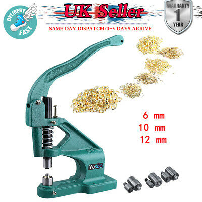 Hand Press Eyelet Hole Punch Machine Tabletop Tool  + 3 Dies + 900 Grommets Kits