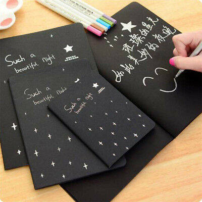 56K Black Paper Sketch Book Soft Cover For Drawing Painting Graffiti Diary DIY