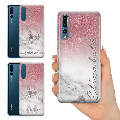 Personalised Champagne Rose Gold Marble Glitter Effect Gel Phone Case For Huawei