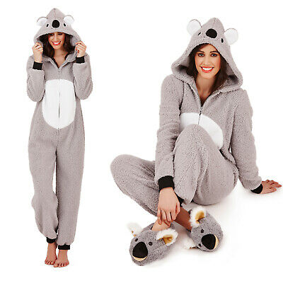 True Dreams Womens 3D Koala All In One Ladies Luxury Animal Super Soft Sleepsuit