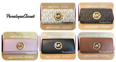 Nwt Michael Kors Leather Or Pvc Fulton Flap Continental Wallet In Various