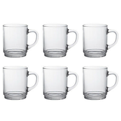 Duralex Set of 6 Versailles Clear Mug, 26cl Traditional Glass Tea Coffee Mugs