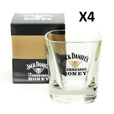 4 x Jack Daniels Tennessee Honey Whisky Glass Tumbler Home Pub Bar Present Boxed