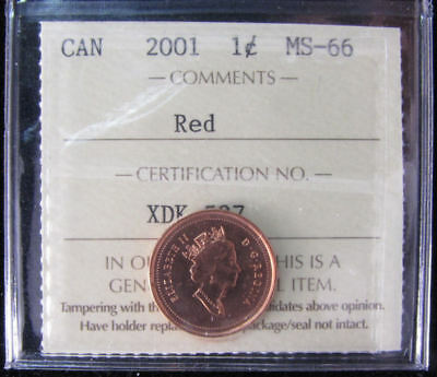 2001  Canada 1 Cent  ICCS graded MS-66;  RED (small cent or penny)