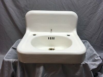 "Antique Hign Back 24"" Cast Iron White Porcelain Wall Mount Bath Sink Vtg 459-18E"
