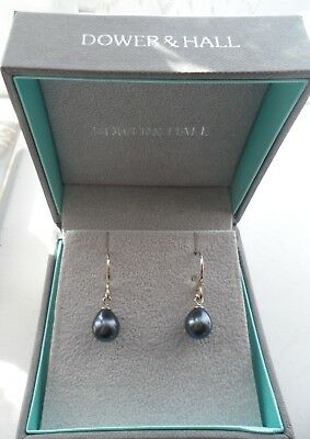 51a1e5669 Dower & Hall Sterling Silver 8mm Peacock Oval Freshwater Pearl Drop Earrings