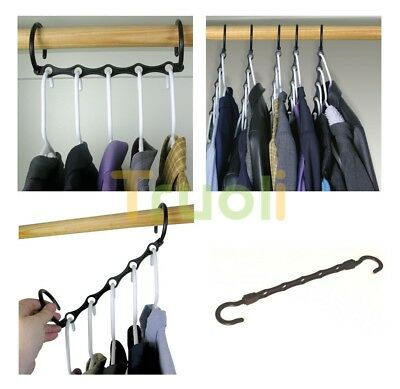 Pack of 8 Magic Hangers Space Saving Storage Wardrobe Coat Clothes Organizer