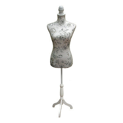 Dressmakers Mannequin with Cream and Black Floral Sketch Design|White Wood Stand