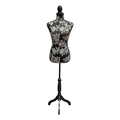 Dressmakers Mannequin with Black and White Flower Design | Black Wood Stand