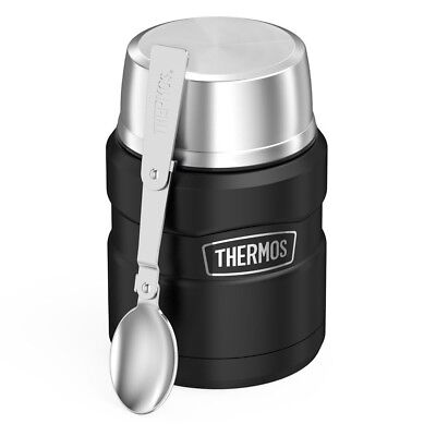 THERMOS Stainless King Food Jar 16oz Matte Black Vacuum Insulated W/Spoon Travel