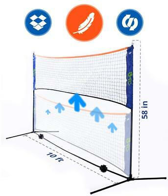 Portable 10 Foot Long and 5 Foot High - Adjustable Height Beach Tennis and - Net