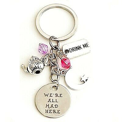 Alice in Wonderland Cheshire Cat-Inspired Charm Keychain We're All Mad Here Gift