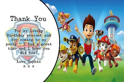 Personalised Photo Skye Paw Patrol Birthday Party Thank You Cards inc envelopes