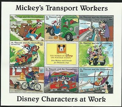 St Vincent and Grenadines: Disney Characters at Work: 6x Mini Sheets: 1996: MNH