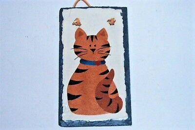 Vtg Kitty Cat Hand Painted Slate Plaque - Yellow Tabby - Leather Hanger