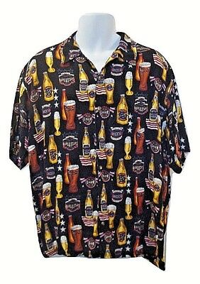 C&B Sport by Croft & Barrow Mens L Beer Themed Button Front Short Sleeve Shirt