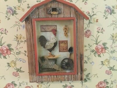 Wood Barn Shadow Box scene Chicken Rooster 2003 Trippies FM 8494 glass front