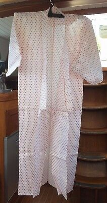 Fab White Cotton Vintage Japanese Full Length Kimono With Red Hash Pattern