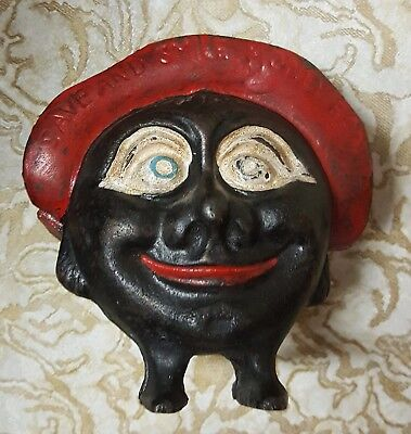 Save and Smile Money Box/Very Rare Early 1900s Cast Iron Coin Bank VINTAGE