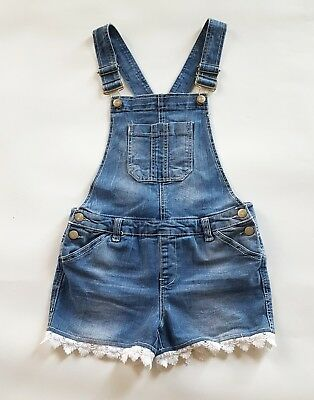 Almost Famous Girl Denim Short Overalls with Lace Trim, Size 14