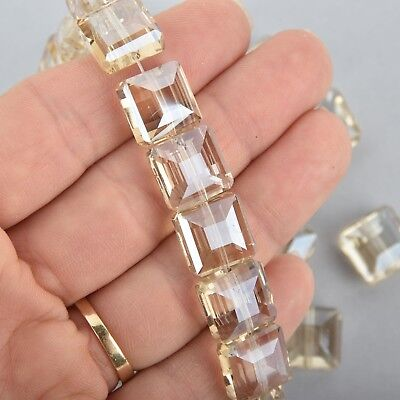 12mm CLEAR CHAMPAGNE Square Crystal Glass Beads x15 beads bgl1749