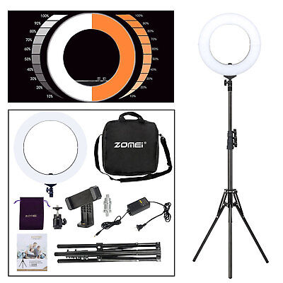 """18"""" SMD LED Ring Light Dimmable 5500K Continuous Lighting Studio Photo Video Kit"""