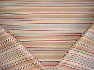 15-3/4Y Zensilk Aqua / Rose / White Silk Stripe Drapery Upholstery Fabric