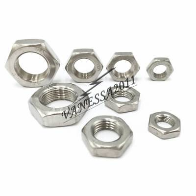 5-100Pcs 304 Stainless Steel Fine Pitch Hex Half Lock Nuts Hex Thin Nut M3-M14