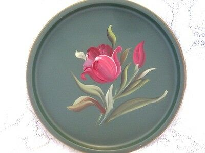 Pink Garden Tulips Vintage French Country Green Tole Dresser Jewelry Tray