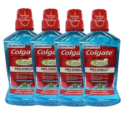 4 x COLGATE 500mL TOTAL PRO-SHIELD ANTI PLAQUE MOUTHWASH PEPPERMINT BLAST