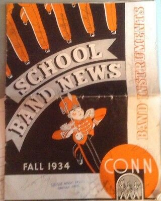 1934 Fall  CONN MUSIC SCHOOL BAND NEWS- Color/glossy large 24 pages cat.