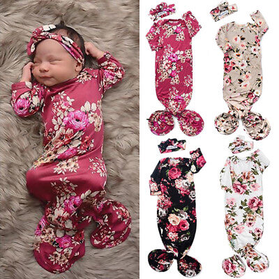 Flower Newborn Baby Girl Swaddle Wrap Blanket Sleeping Bag+Headband Outfit 0-6M