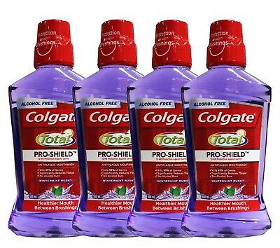 4 x COLGATE 500mL TOTAL PRO-SHEIDL ANTI PLAQUE MOUTHWASH WINTERMINT RUSH