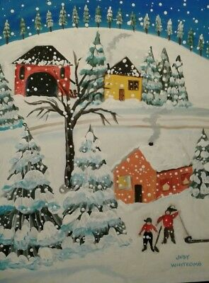 Primitive folk art winter scene by j.whitcomb acrylic painting