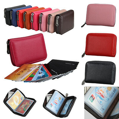 Women Men Wallet Credit Card Holder Leather RFID Blocking Zipper Pocket a5