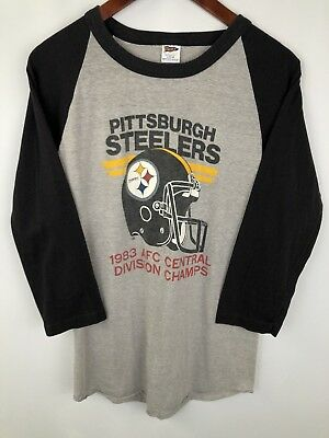 Vintage 80s Pittsburgh Steelers Shirt Raglan 1983 AFC Champs Mens Large NFL RARE
