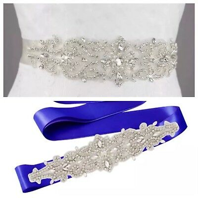 Bridal Wedding Rhinestone Pearl Encrusted Diamante Sash Dress Royal Blue Belt